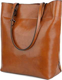 Yaluxe Women's Leather Tote Work Bag Purse Tall Hobo Shoulder Bag Zipper Closure Brown