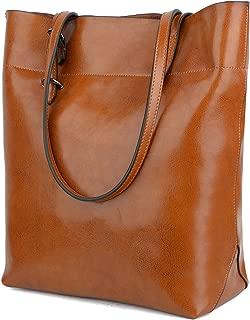 Yaluxe Women's Leather Tote Work Bag Purse Tall Hobo Shoulder Bag Zipper Closure Brown