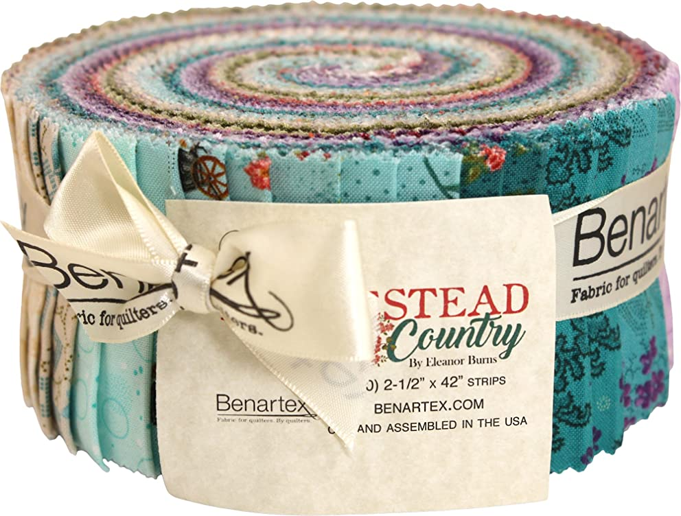 Eleanor Burns Homestead Country Pinwheel 40 2.5-inch Strips Jelly Roll Benartex, Assorted