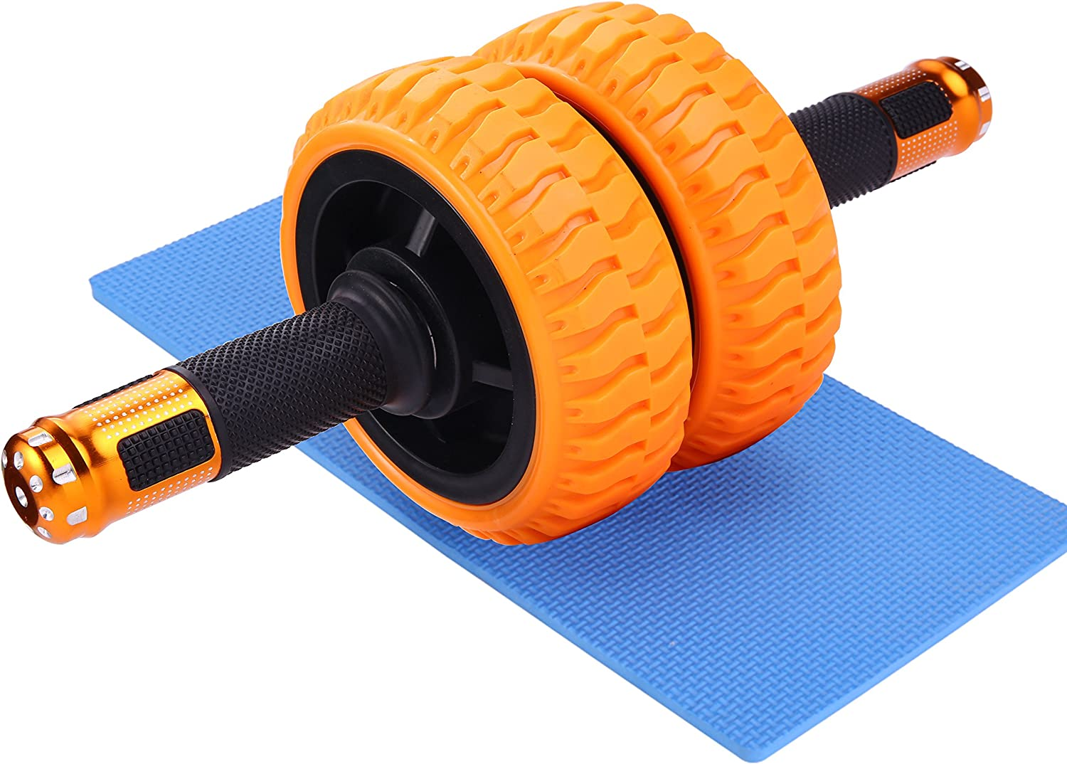 Wnnideo Ab Wheels Roller with Knee Pad - The Exercise Wheels with Stable Dual Wheels and Reinforced Steel Handles Great for Core Strength Training Abdominal Workout
