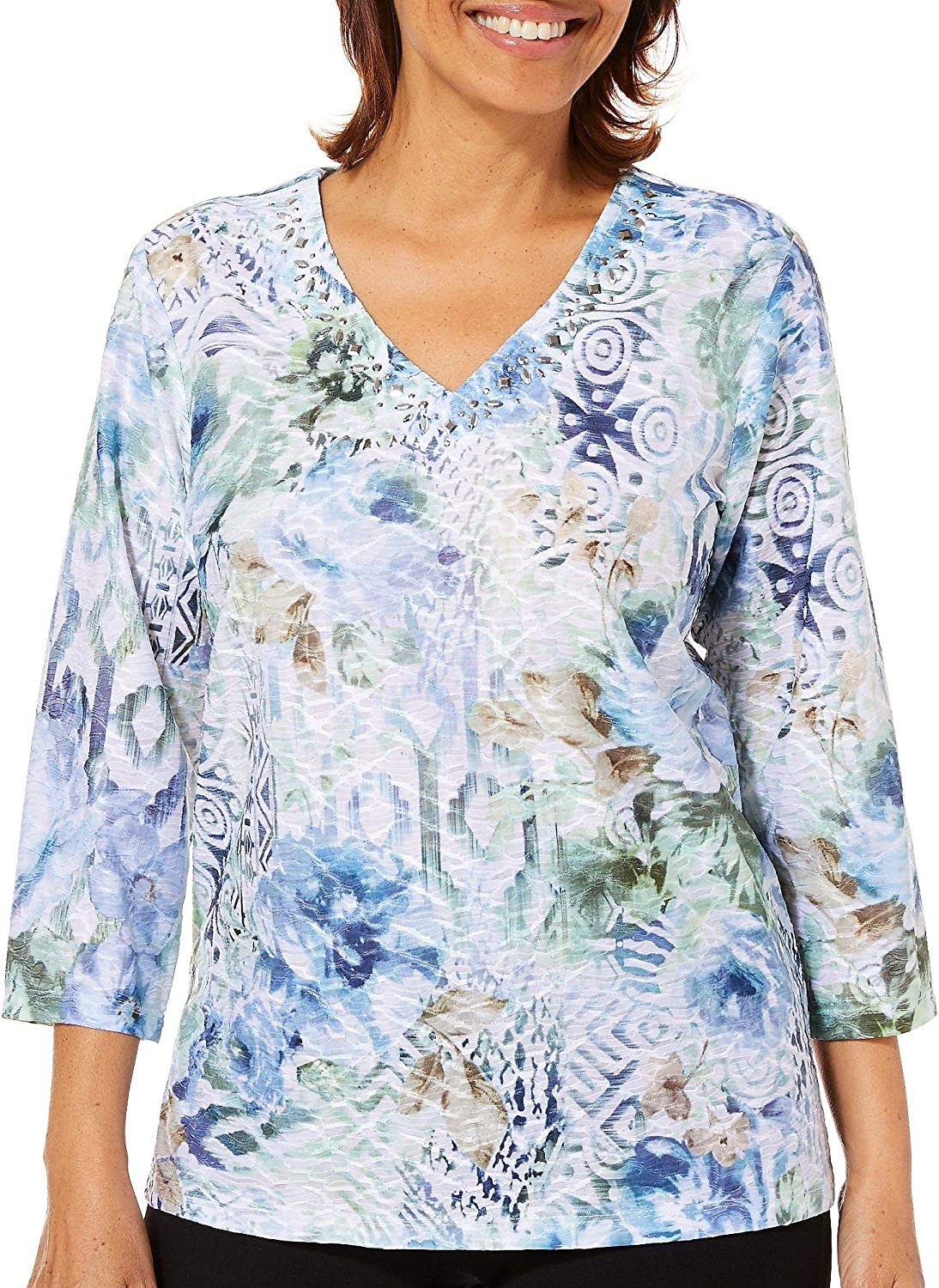 Alfred Dunner Women's Greenwich Hills Ethnic Textured Floral Top