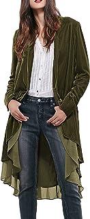R.Vivimos Women's Ruffled Asymmetric Long Velvet Blazers