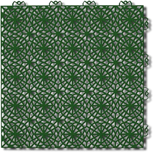 Bergo Polypropylene 14 88 X 14 88 Loose Lay Interlocking Deck Tiles In Spring Grass