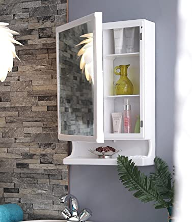Parasnath Strong and Heavy New Look Bathroom Cabinet with Cabinet with Mirror - White