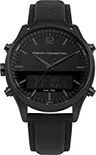 French Connection Men's Quartz Watch with Leather Strap, Black, 21 (Model: FC1311BB)
