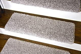 Dean Modern DIY Peel and Stick Bullnose Wraparound Non-Skid Carpet Stair Treads - Macadamia Beige 30