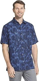 Men's Big and Tall Air Tropical Short Sleeve Button Down Poly Rayon Shirt