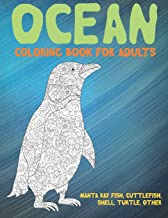 Ocean - Coloring Book for adults - Manta ray fish, Cuttlefish, Shell, Turtle, other