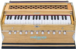 Maharaja Musicals Harmonium, 11 Stops, 3 1/2 Octave, In USA, Double Reed, Coupler, Natural Color, Standard, Padded Bag, A440 Tuned, Blemished, Harmonium Indian Musical Instrument (GSB-AAE)