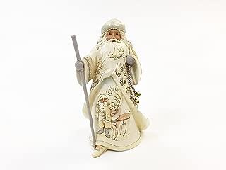 Enesco, JS HWC Fig Woodland Santa with Reindeer Scene (White Woodland), White
