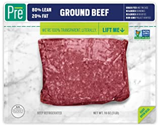 Pre, 80% Lean Ground Beef – 100% Grass-Fed and Grass-Finished, and Pasture-Raised – 16oz.