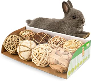 andwe Small Animals Play Balls Rolling Chew Toys & Gnawing Treats for Rabbits Guinea Pigs Chinchilla Bunny Degus - Pet Cage Entertainment Accessories