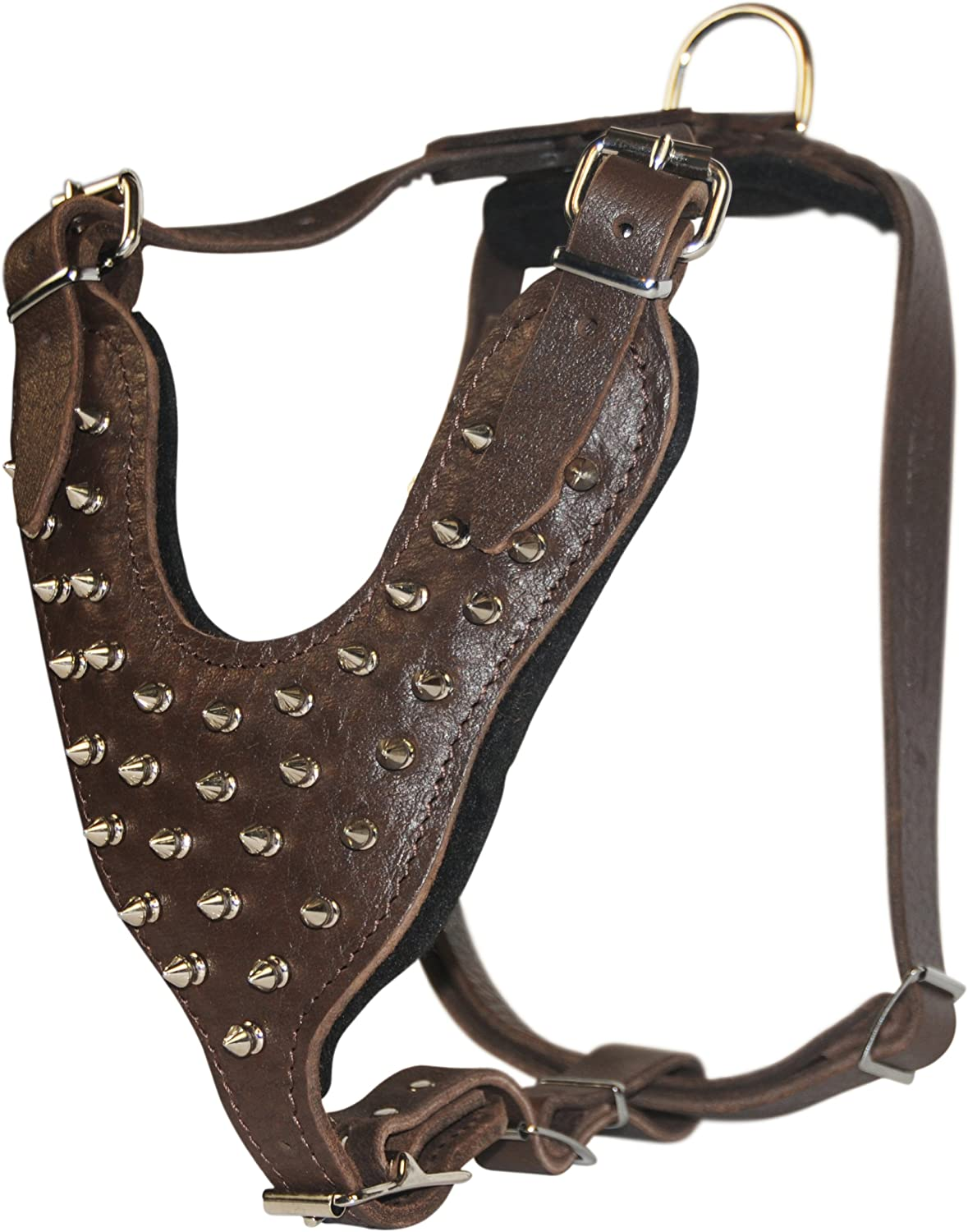 Dean and Tyler The Blade with Handle Nickel Hardware Leather Dog Harness, Brown, Large  Fits Girth Size  22Inch to 36Inch