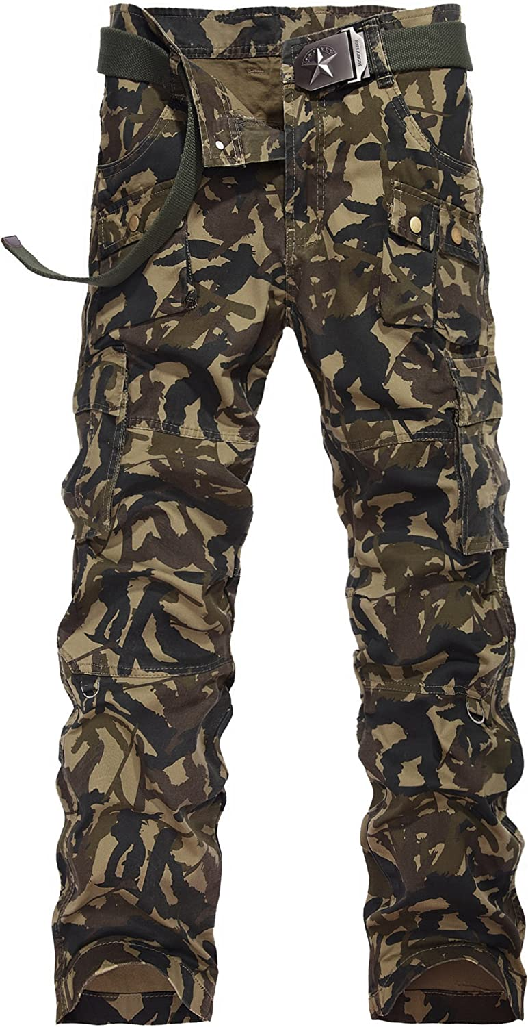 Colorfulworldstore Cotton Mens Casual Military Army Woodland Camouflage Cargo Pants