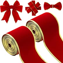 2 Rolls 2.5 Inch x 6 Yards Red Flannel Ribbon Craft Ribbon Wide Wrapping Ribbon Christmas Fabric Ribbon with Golden Edge f...