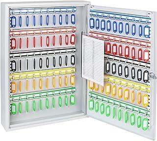 HMF 135100-07 Armoire à clés, 100 crochets, boîte à clés, 55 x 38 x 8 cm, gris clair