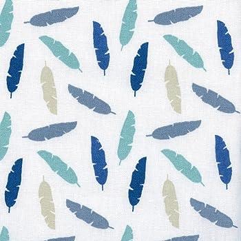 Tela LAS PLUMAS MULTICOLORES (azul, gris, beige y verde sobre un fondo blanco) - Colección Fiesta de invierno 100% algodón suave | ancho: 140 cm (por metro lineal)*: Amazon.es: Hogar