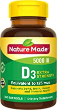 Nature Made Extra Strength Vitamin D3 5000 IU Softgels (125 mcg), 360 Count for Bone Health† Value Size (Packaging May Vary)