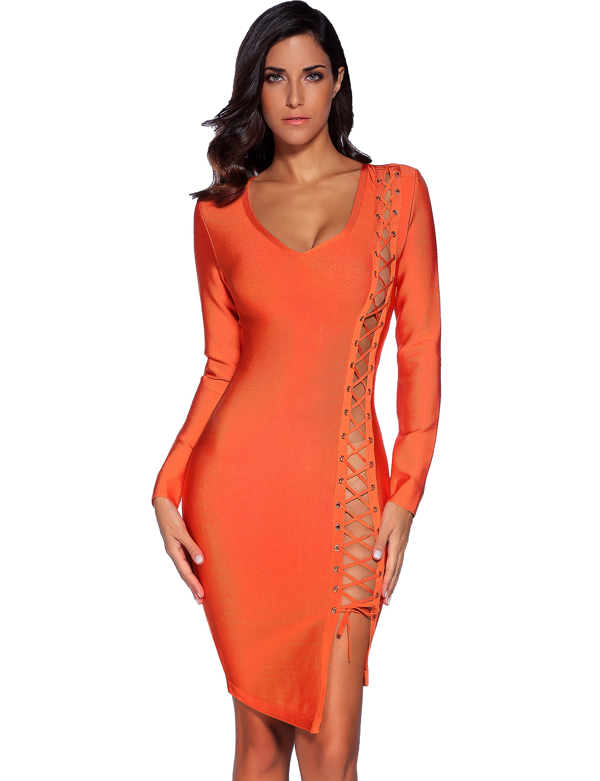 Available at Amazon: Meilun Women's Lace Up Long Sleeve Bandage Bodycon Dress