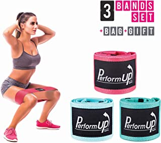 PerformUp Resistance Hip Bands for Men and Women, Set of 3, Fabric, Non Slip, Thick, Circle and Cotton Cloth Design, for Glutes, Thighs Workouts, Heavy Squat Trainings and Booty, Legs, Butt Exercises
