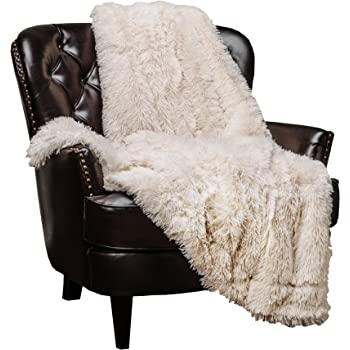 Chanasya Shaggy Longfur Faux Fur Throw Blanket - Fuzzy Lightweight Plush Sherpa Fleece Microfiber Blanket - for Couch Bed Chair Photo Props (50x65 Inches) Cream