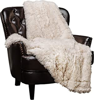 Chanasya Super Soft Shaggy Longfur Throw Blanket | Snuggly Fuzzy Faux Fur Lightweight Warm Elegant Cozy Plush Sherpa Fleece Microfiber Blanket | for Couch Bed Chair Photo Props - (50x65)- Cream