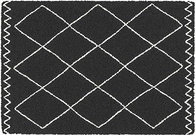 Douceur d'Intérieur SAOURA Decorative Rectangular Rug, Black, 60 x 110 cm