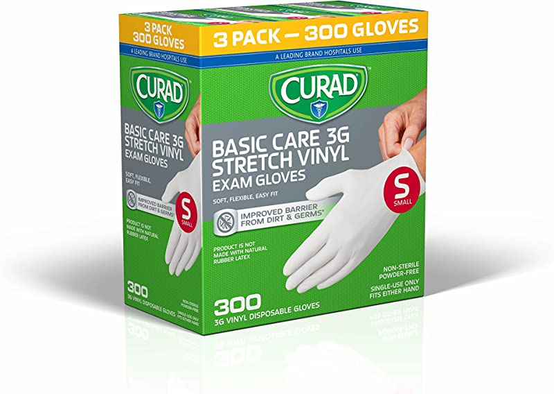 Curad Disposable Basic Care 3G Stretch Vinyl Exam Gloves Latex Free Medical Grade Non Sterile Powder Free Small 100 Count 3 Pack