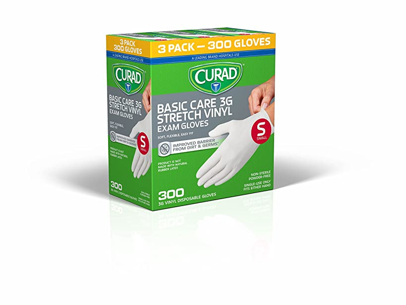 Disposable Basic Care 3G Stretch Vinyl Exam Gloves - Latex Free, Medical Grade, Non-Sterile, Powder Free (Medium) (3X 100 Pack)
