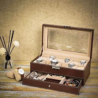Watch Box Organizer Case 12 Slots Mens Jewelry Display Drawer Tray Glass Top Leather Big Dresser Valet Tray with Watch Box Jewelry Organizer Smartphone Charging Station Storage and Display (Red-brown)