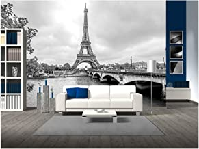 wall26 - Paris Eiffel Tower from Seine. Cityscape in Black and White - Removable Wall Mural | Self-Adhesive Large Wallpaper - 100x144 inches