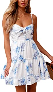 Womens Dresses Floral Spaghetti Strap Tie Knot Front Flowy Pleated Mini Swing Dress