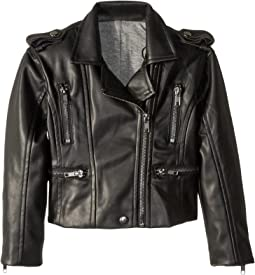 Matte Vegan Leather Moto Jacket with Zippers (Toddler/Little Kids)