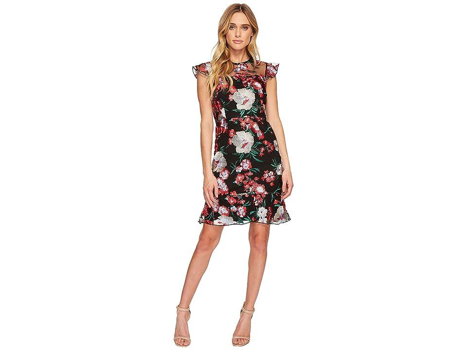 Donna Morgan Short Flutter Sleep Drop Waist Embroidered Dress (Red) Women
