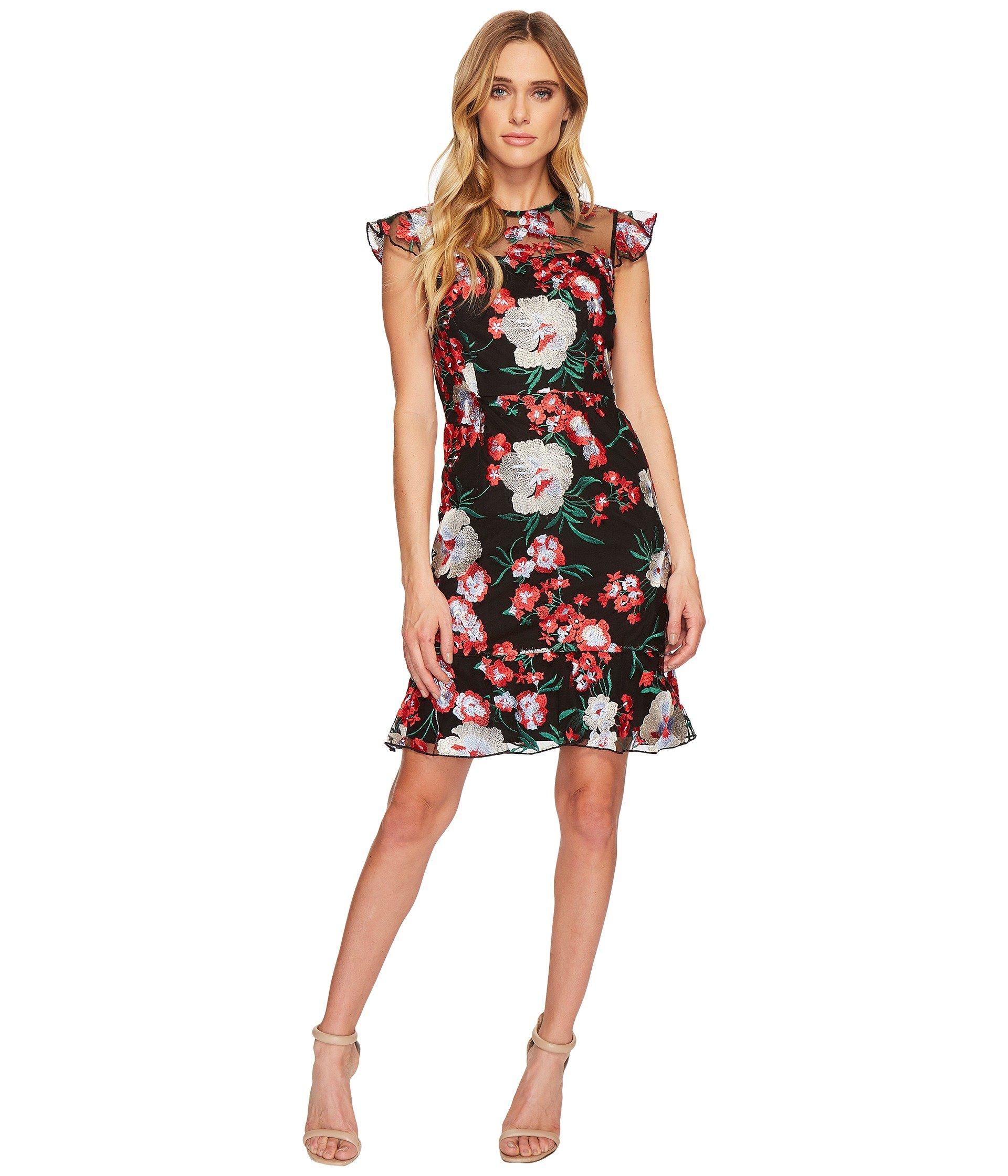 Donna Morgan Short Flutter Sleep Drop Waist Embroidered Dress at ...