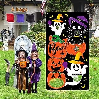 Whaline Halloween Bean Bag Toss Games, Halloween Indoor Outdoor Throwing Games for Kids Halloween Party Decoration, Pumpkin, Ghost, Black Cat, Star, 6 Bean Bags