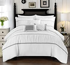 Chic Home Cheryl 10 Piece Comforter Set Complete Bed in a Bag Pleated Ruched Ruffled Bedding with Sheet Set And Decorative...