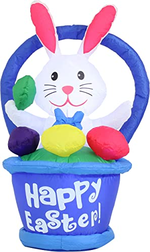 high quality Sunnydaze Large Easter Inflatable Outdoor Decoration - 45-Inch Easter Bunny in Basket - Outdoor Celebration Blow-Up Yard and wholesale Garden Decor with Fan Blower and LED new arrival Lights outlet sale