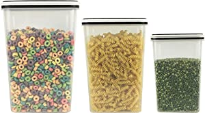 Food Storage Clear Containers Durable Plastic, Slim Tall Design Pantry Storage Organization Air-Tight to Keep Food Fresh longer Canisters (Small-40oz, Medium-81oz, Large-142oz w/lids) (3)