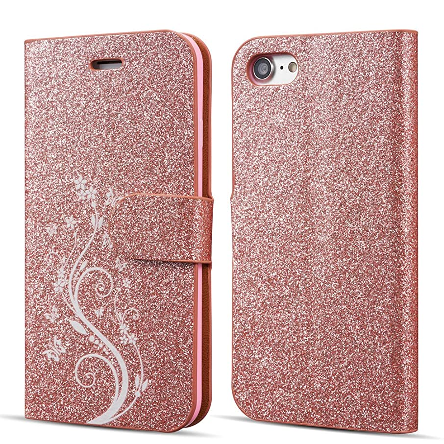 UEEBAI Case for iPhone 5 5S SE,Luxury Bling Glitter Case with [Magnetic Closure] [Card Slots] PU Leather Flip Wallet Case with Elegant Flower Patterns Printing for iPhone 5/5S/SE - Rose Gold