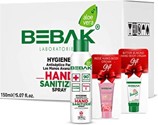 Bebak Hand Sanitizer, Disinfectant Spray, Hand Cleaning - Panthenol, Ethyl Alcohol 90% Aerosol, 150 ml 24-Pack
