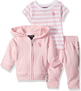 Baby Girls' Zip Up Sequins Jacket, T-Shirt, and Jogger Pant Set