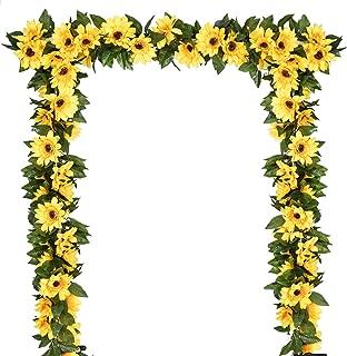 DearHouse 2 Pack Artificial Sunflower Garland Silk Sunflower Vine Artificial Flowers with Green Leaves Wedding Table Decor