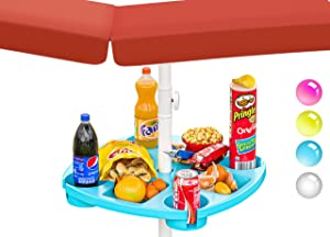 Skywin Umbrella Tray - Large Beach Umbrella Table Tray with Compartments for Cups and Snacks Great for Beaches, Gardens, Yards, Patios - Universal Pole Fit (Large, Blue)