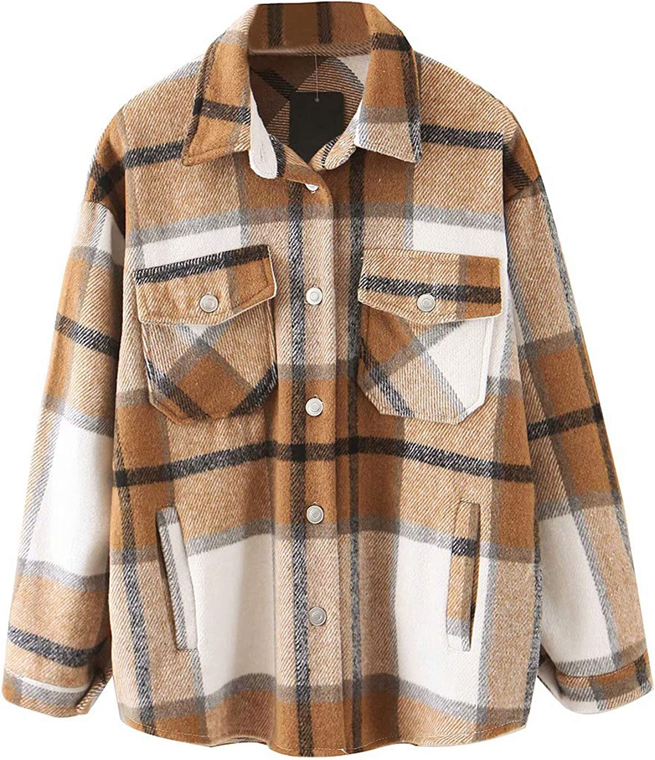 Women's Plaid Button Down Jacket Casual Wool Blend Long Sleeve Loose Lapel Coat Winter Outwear with Pockets