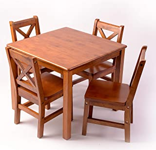 eHemco Kids Table and 4 X-Back Chairs Set Solid Hard Wood in Dark Oak