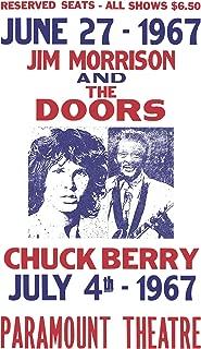 "Jim Morrison and The Doors - Chuck Berry - Paramount Theatre 13""x22"" Vintage Style Showprint Poster - Concert Bill - Home Nostalgia Decor Wall Art Print"