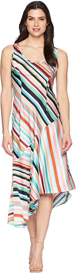 Striped Charmuese Slip Dress with Asymmetrical Hemline