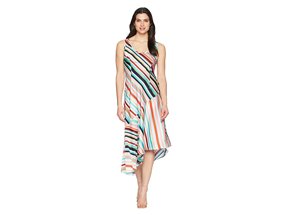 Donna Morgan Striped Charmeuse Slip Dress with Asymmetrical Hemline (Fresh Green/Pink Multi) Women