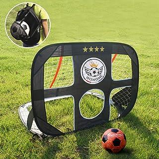 WISHOME 4FT Pop Up Kids Soccer Goal and Ball Set Goal Net for Backyard Portable Football Net Garden Game Outdoor Kids Sport Toys Gift for Boys